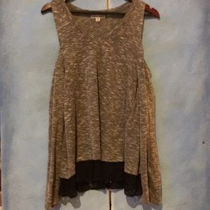 NWOT Cold Shoulder Blouse with Lace Bottom